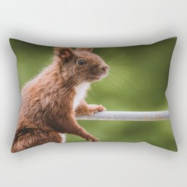 Red Squirrel posing for a Portrait Rectangular Pillow