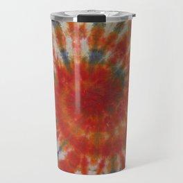 Tie Dye Spiral Galaxy Orange Purple Green Blue Travel Mug