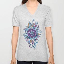 Deep Summer - Watercolor Floral Medallion Unisex V-Neck