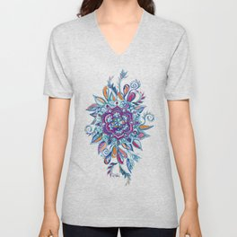Deep Summer - Watercolor Floral Medallion Unisex V-Neck