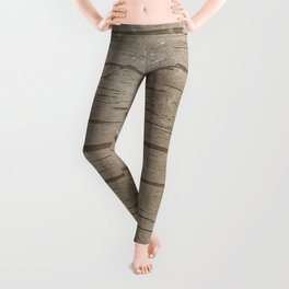 Nautical Driftwood Wood Grain Pattern Leggings