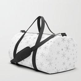 Twinkle Snowflake -Silver Grey & White- Duffle Bag
