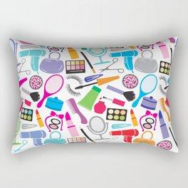 make up collection background (seamless pattern, beauty and makeup design) Rectangular Pillow