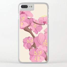 Pink Peach Blossoms on Beige Background Clear iPhone Case