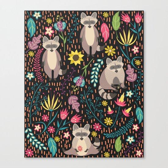 Raccoons bright pattern Canvas Print