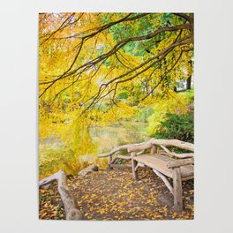 Autumn Bench Meadow Poster