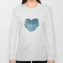 Heart Graphic Watercolor Blue Long Sleeve T-shirt