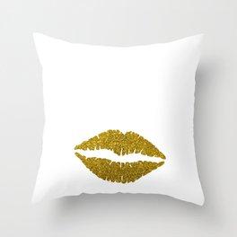 Glittery Bougie Lips Tshirt Design Throw Pillow