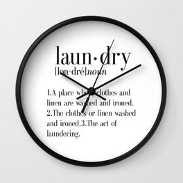 Laundry definition | Dictionary word | Laundry print | Instant download | Printable quote | Dictiona Wall Clock