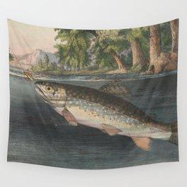 Vintage River Fishing Illustration (1874) Wall Tapestry