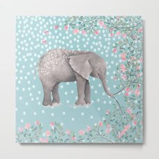 Beautiful Elephant with flowers on dots backround Metal Print