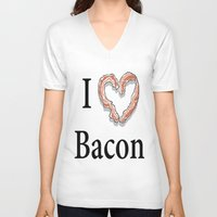 bacon V-neck T-shirts featuring I -bacon- Bacon by Beatrice