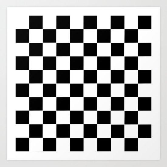 Checker Cross Squares Black & White Art Print