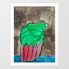 Sweet Cupcake Confections Green Frosting With Red Cherry Watercolor Art Print