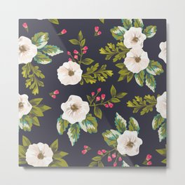 navy pink and white floral Metal Print