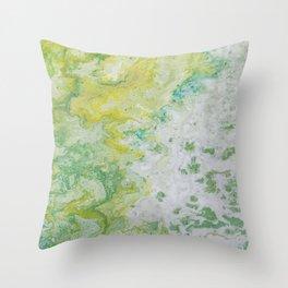 Lime Green Aqua Yellow Textured Abstract Throw Pillow