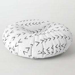 linocut Mudcloth grey and white minimal modern chevron arrows pattern gifts dorm college decor Floor Pillow