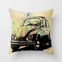 beetle Throw Pillows featuring Beetle by Del Vecchio Art by Aureo Del Vecchio