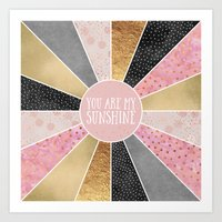 you are my sunshine Art Prints featuring You are my sunshine by Elisabeth Fredriksson