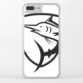 Blue Marlin Jumping Crest Black and White Clear iPhone Case