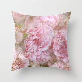 Vintage English Roses Throw Pillow