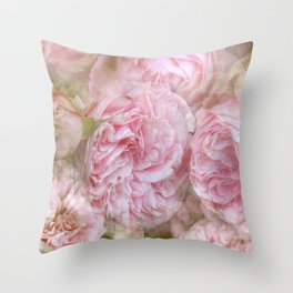 Vintage English Roses Throw Pillow