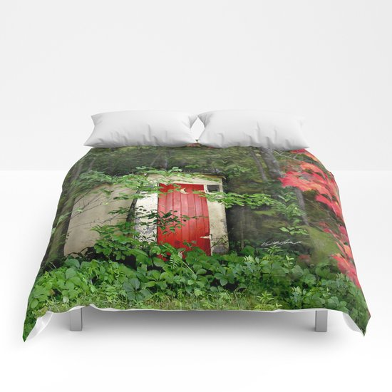 The Red Outhouse Door Comforters