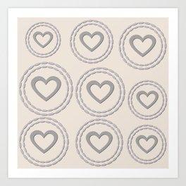 Cute Silver Cream Hearts Pattern Art Print
