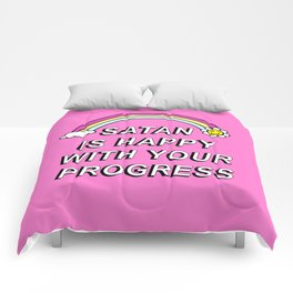 Satan is Happy with your Progress Comforters