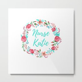 Nurse Katie - Floral Wreath - Watercolor Metal Print