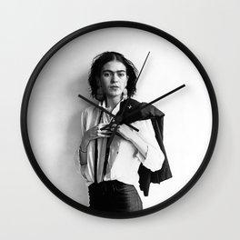 Frida Kahlo Wearing White Shirt Photo Art Poster Print Wall Clock