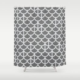 Strict Mermaid Scales Grey Shower Curtain