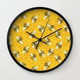 Bees and Honeycomb Beehive Honeybee Pattern Wall Clock