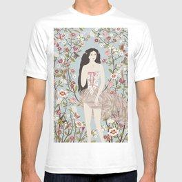 Lady, Flowers, Hummingbirds and Butterflies T-shirt