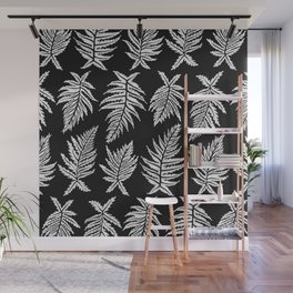 Inked Ferns – White Ink on Black Wall Mural