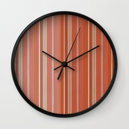 Rusty Coral Ombré Stripes Wall Clock