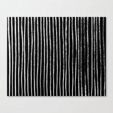 White Line Pattern on Black Canvas Print