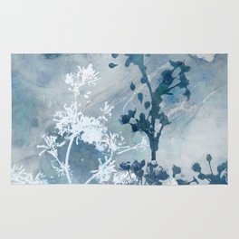 Blue Floral Botanical Watercolor Painting Rug