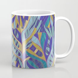 Tropical Leaves, blue and mustard pattern Coffee Mug