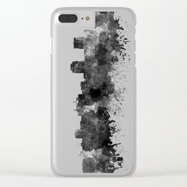 Colorado Springs skyline in watercolor background Clear iPhone Case