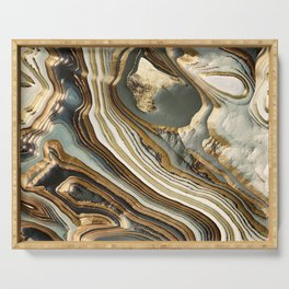 White Gold Agate Abstract Serving Tray