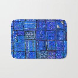 V2 Calm Blue Traditional Moroccan Cloth Texture. Bath Mat