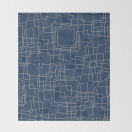 Decorative blue and grey abstract squares Throw Blanket