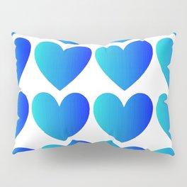 Love Hearts Classic Blue Ombre Pillow Sham