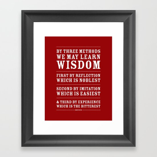 Three Ways to Wisdom • Red Framed Art Print