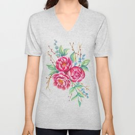 Watercolor flower composition with peonies and branches Unisex V-Neck