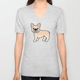 Cream French Bulldog Dog Cute Cartoon Illustration Unisex V-Neck