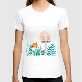 pink mushroom with floral elements T-shirt