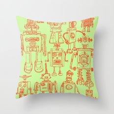 Robots! Throw Pillow