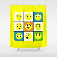 faces Shower Curtains featuring Faces by Omar VP